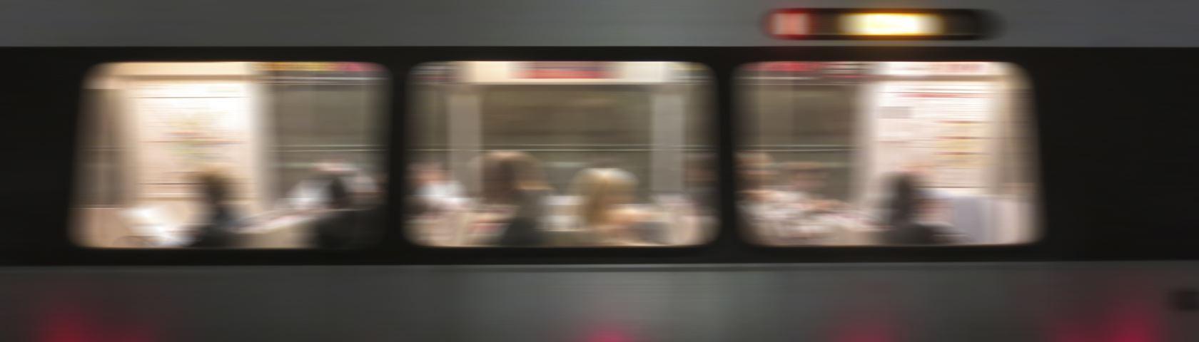 Metro Train Speeding Away