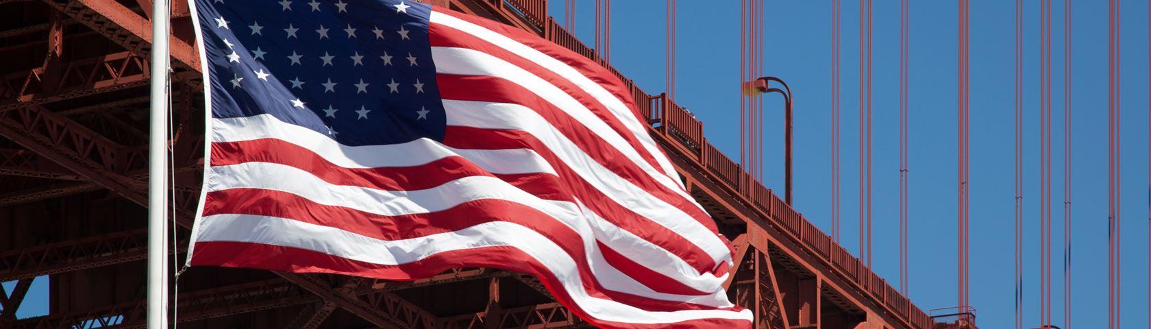 USA flag foreground