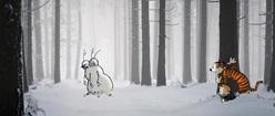 Calvin and Hobbes Chasing Snowmen