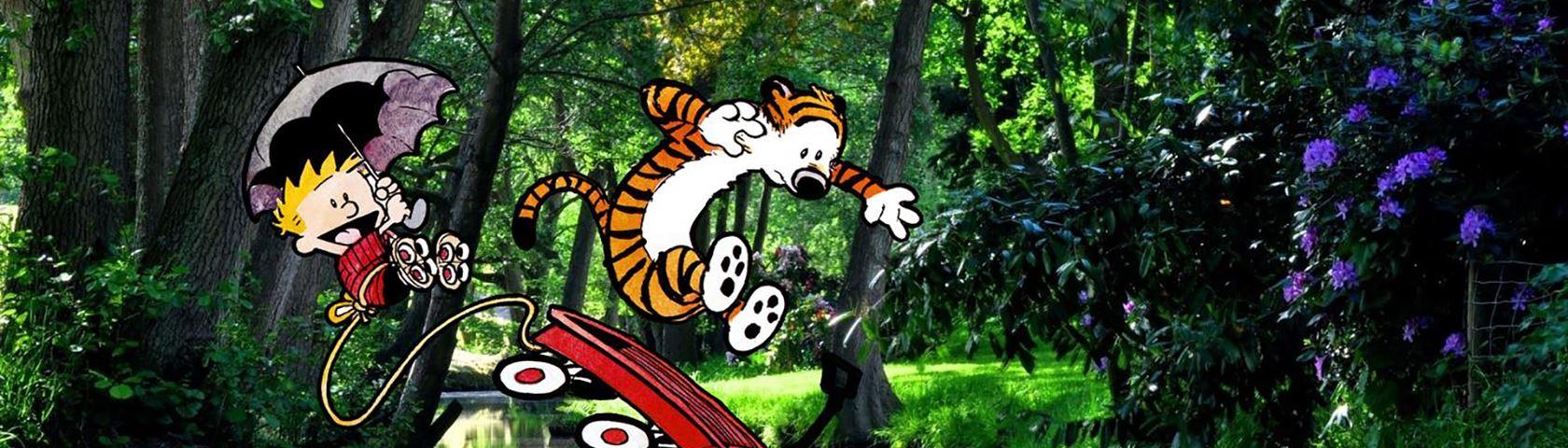 Calvin and Hobbes Jumping into a Lake