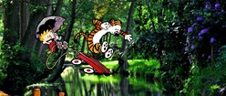 Calvin and Hobbes Jumping into a Lake