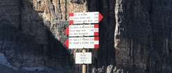 Trail signs in the Dolomites