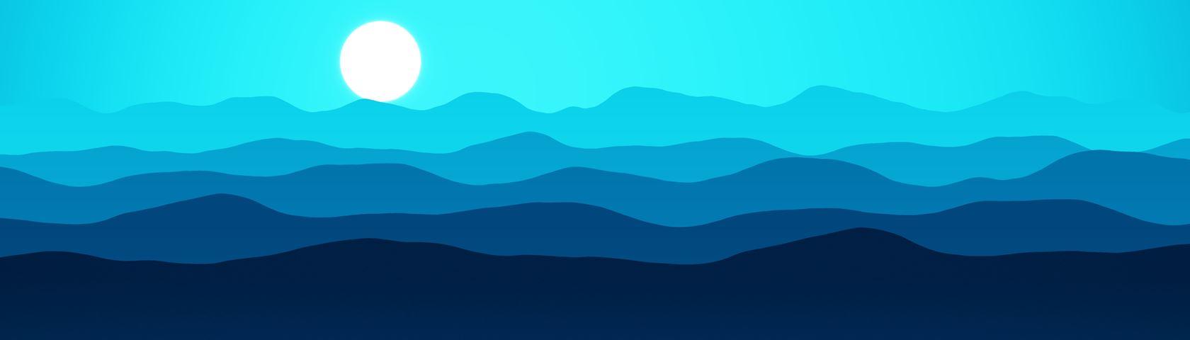 Mountains (Bluish Cyan)