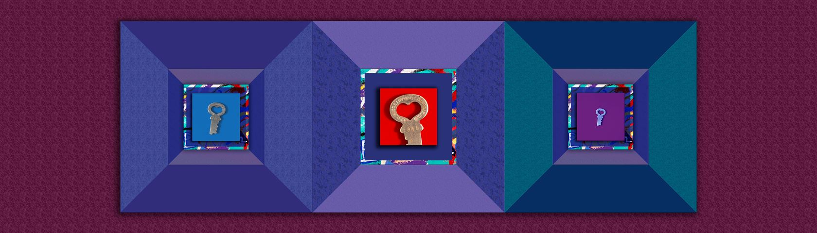 Heart Key with Quilt Design