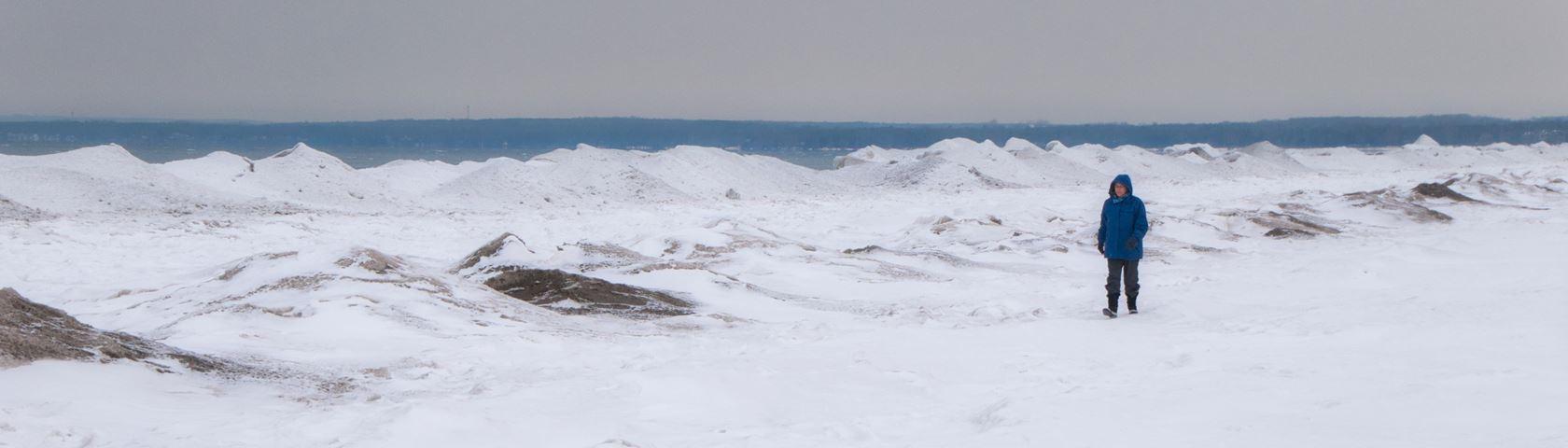 Walking a Frozen Beach
