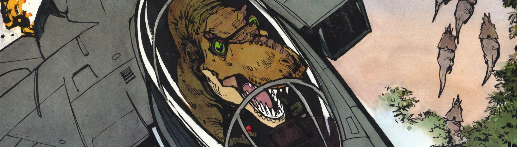 Calvin as a TRex in an F14